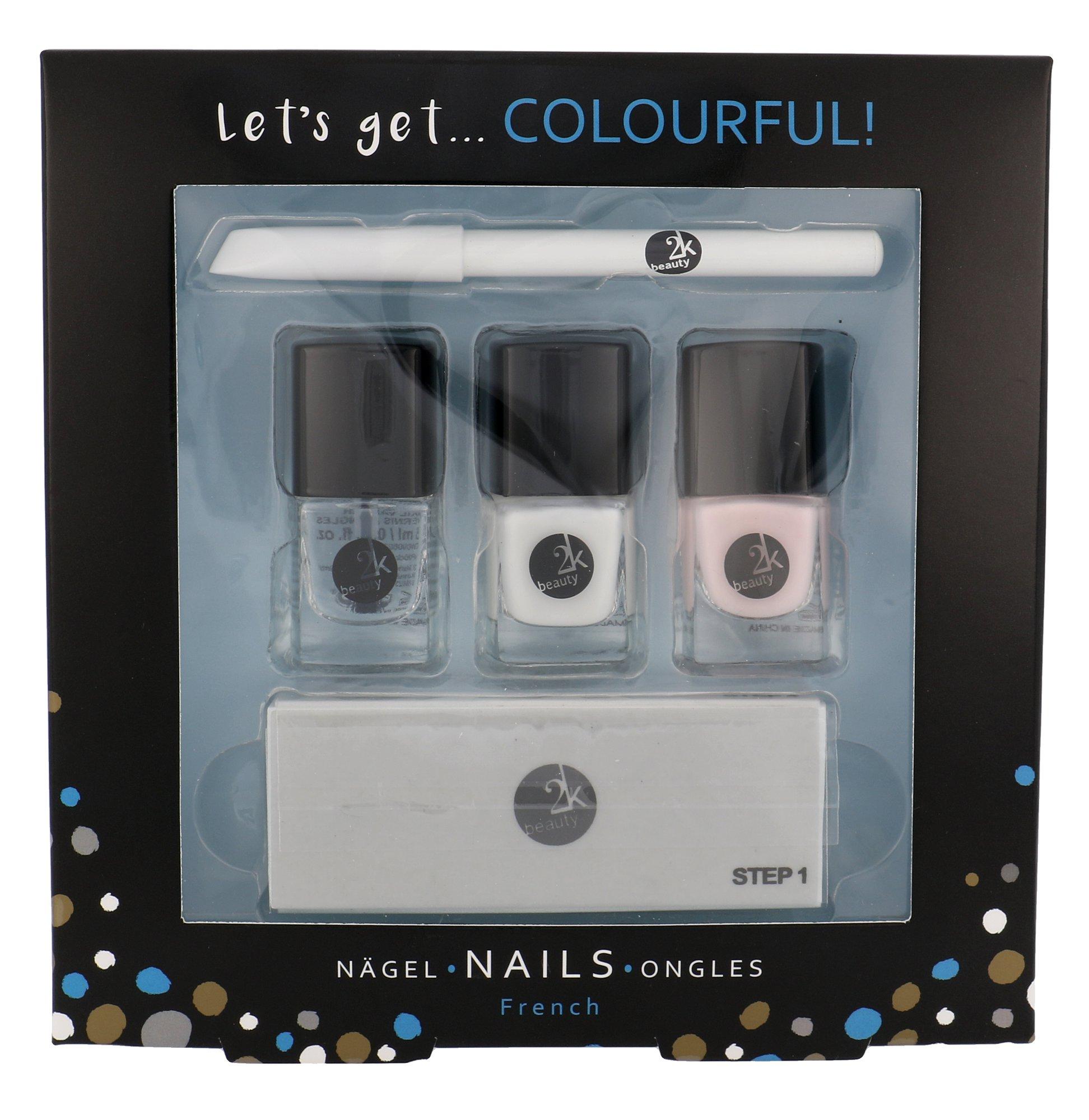 2K Let's Get Colourful! Classics Nail Polish 3 x 5 ml + Nail White Pencil 2 g + 4in1 Nail File 93781